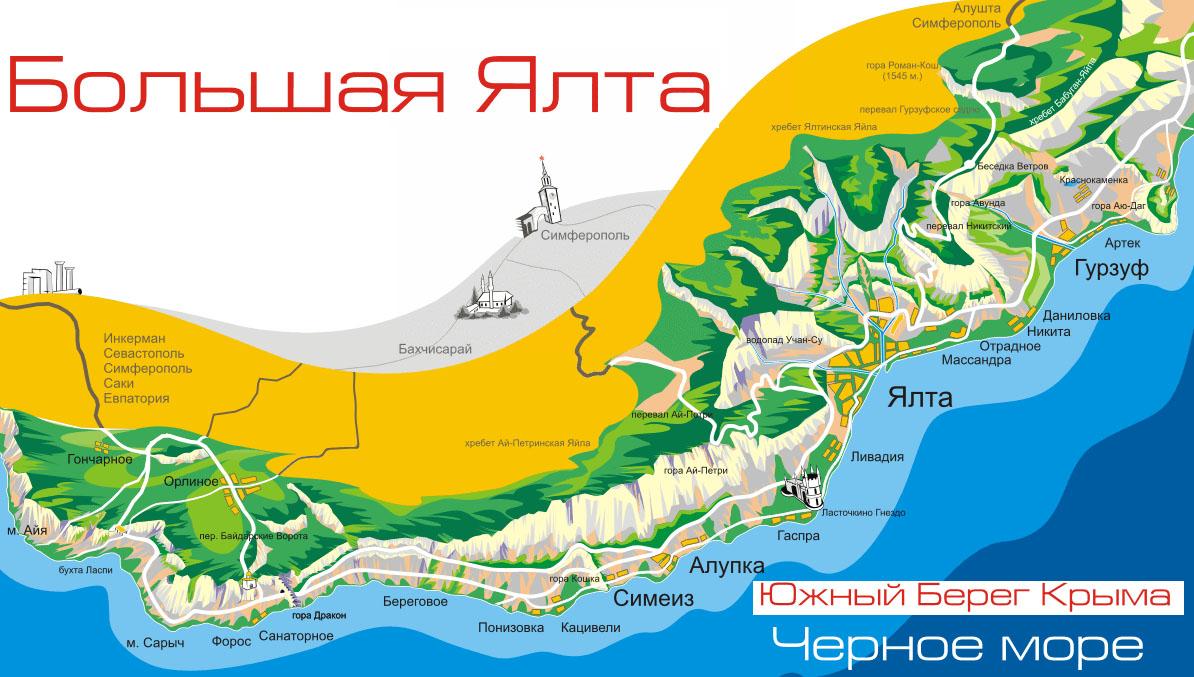 карта городов и поселков Большой Ялты на Южном берегу Крыма