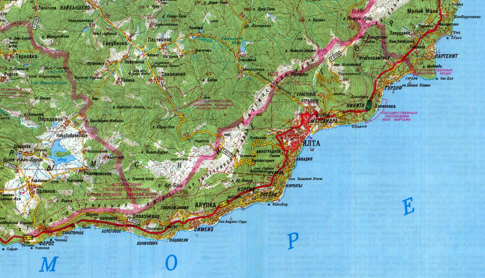 карта Большая Ялта