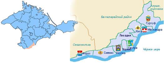 Большая Ялта на карте Крыма