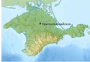 пгт Красногвардейское на карте Крыма