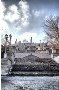 вид на лестницу горы Матридат зимой