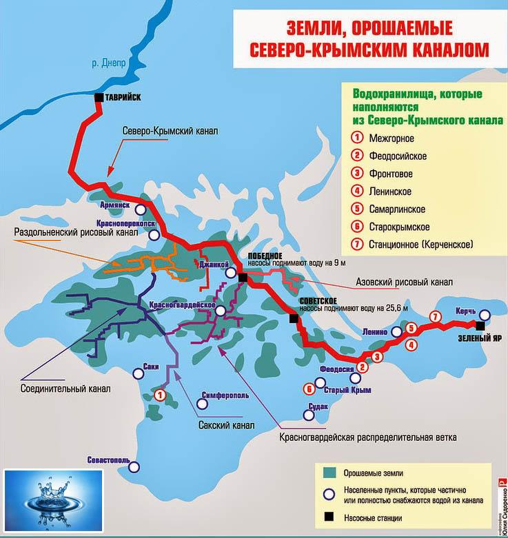 подробная карта схема Северо-Крымский канал