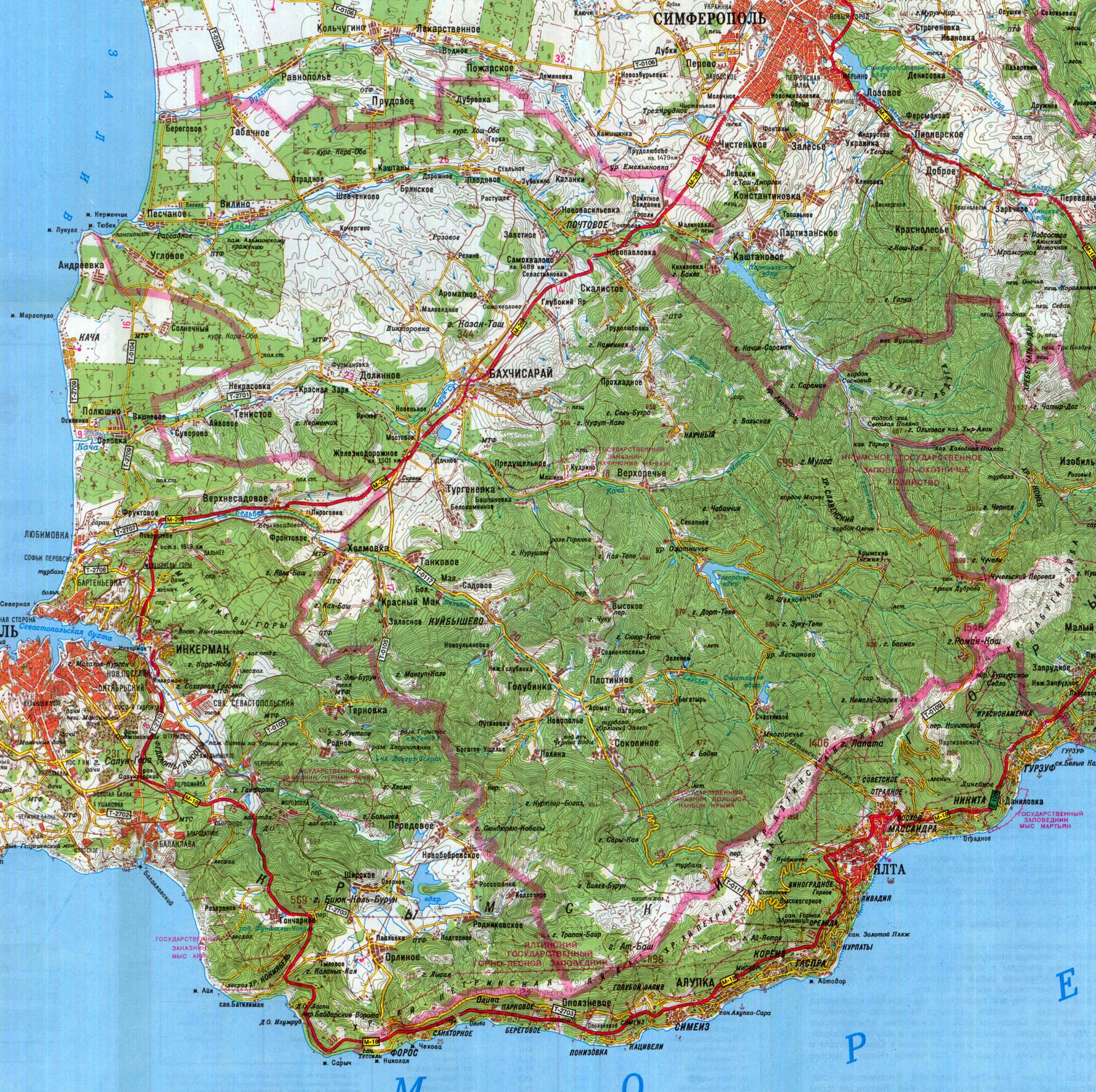Географическая Карта Крыма Подробная Со Всеми Городами И Селами