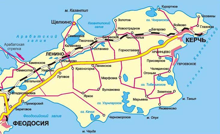 карта дорог по Керченскому полуострову