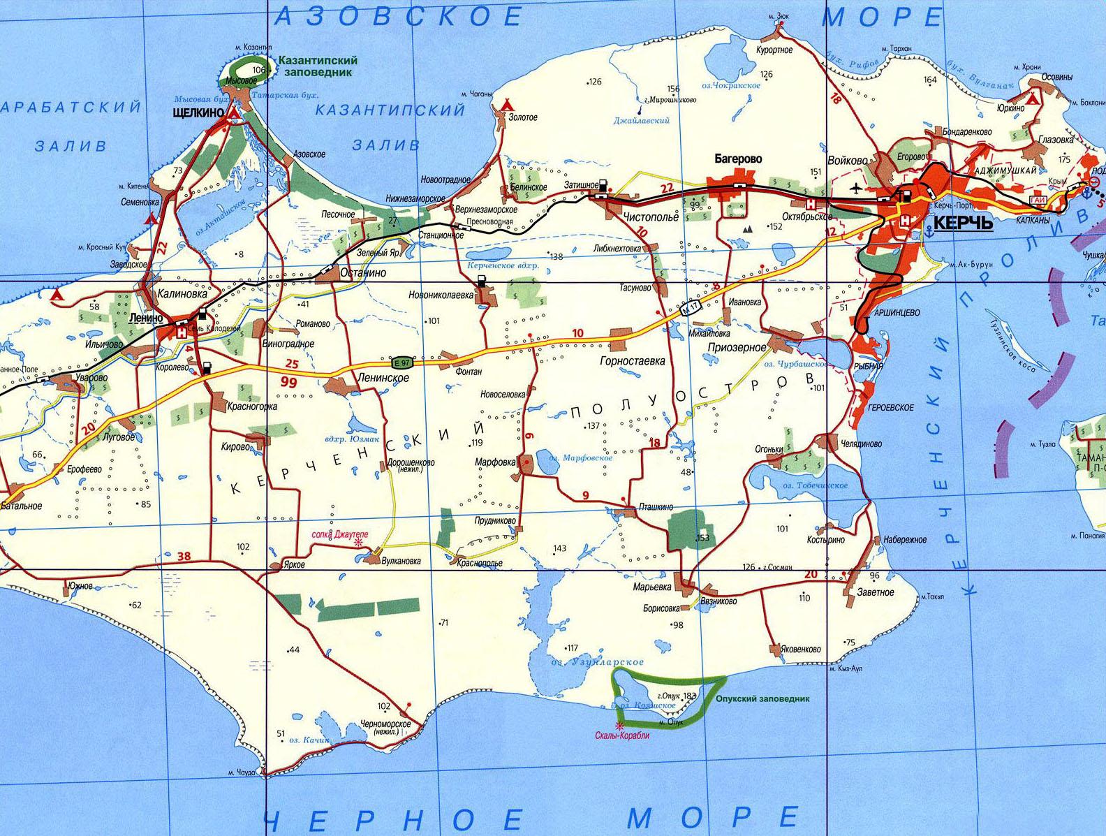 Подробная карта Керченсокго полуострова