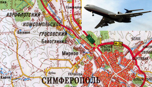 Аэропорт на карте Симферополя: