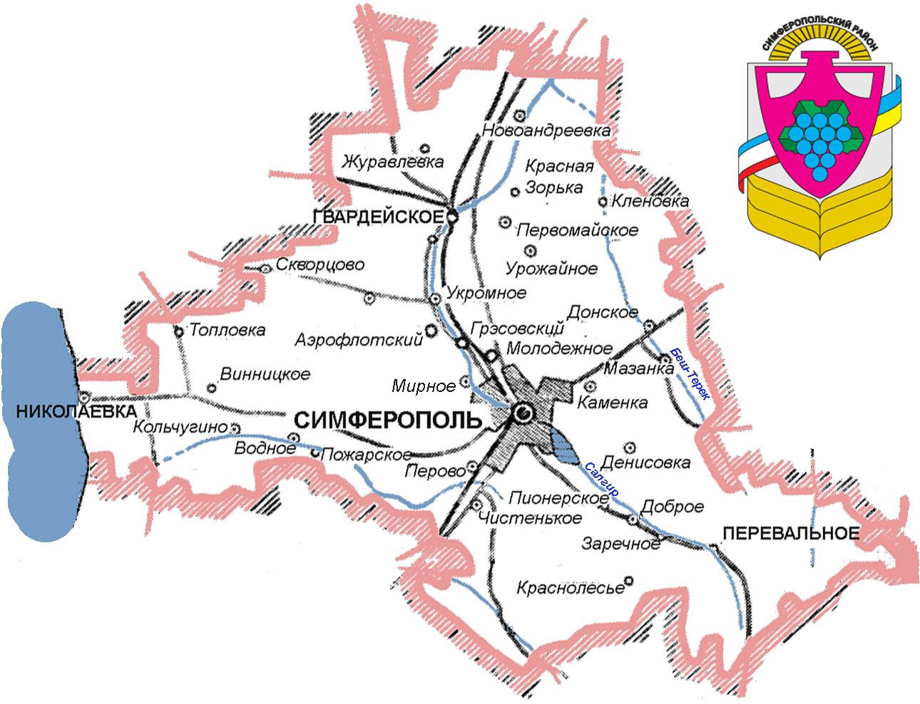 Карта схема дорог Симферопольского района Крыма