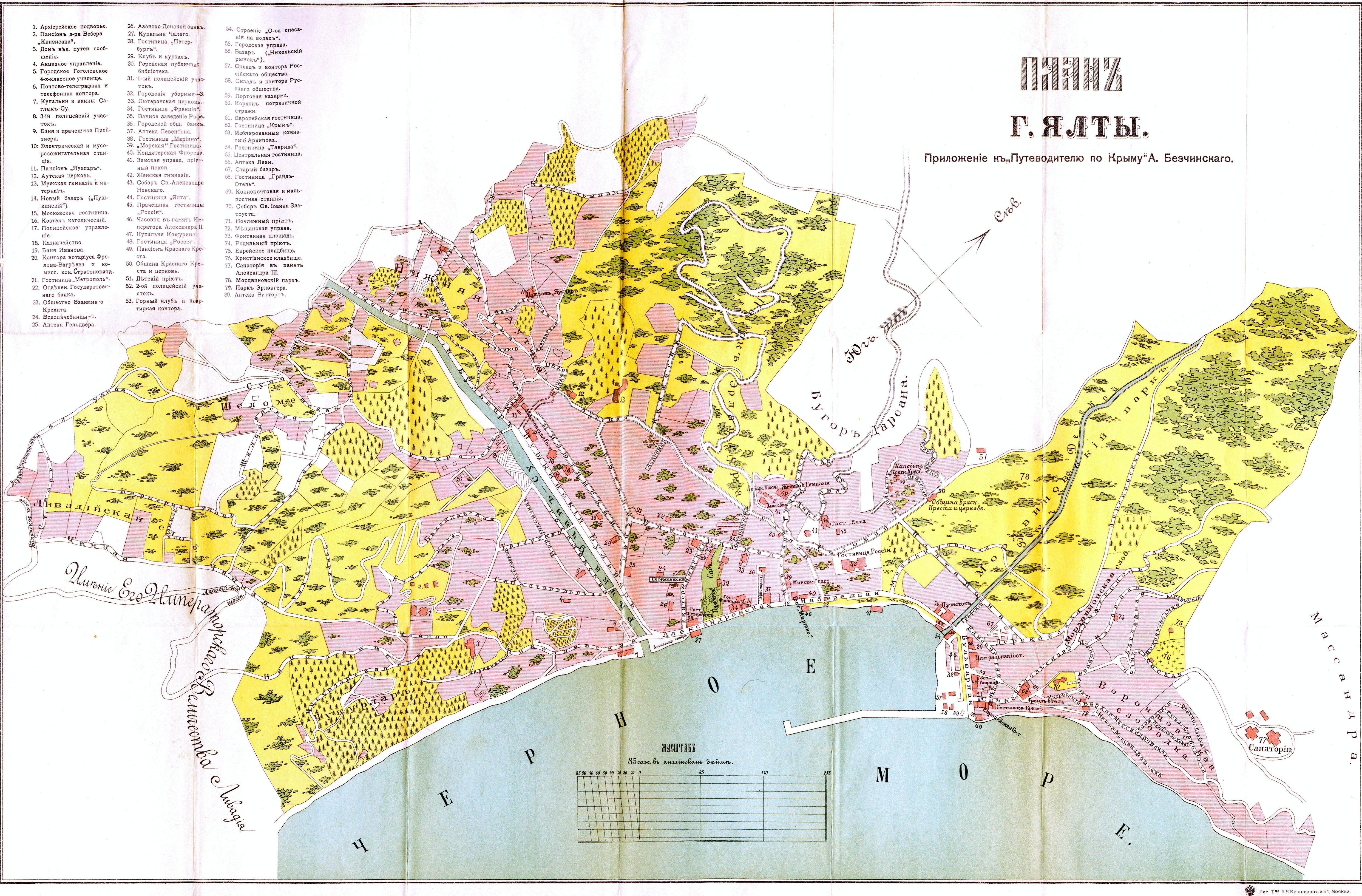 Старинная карта Ялты истории 1908 года