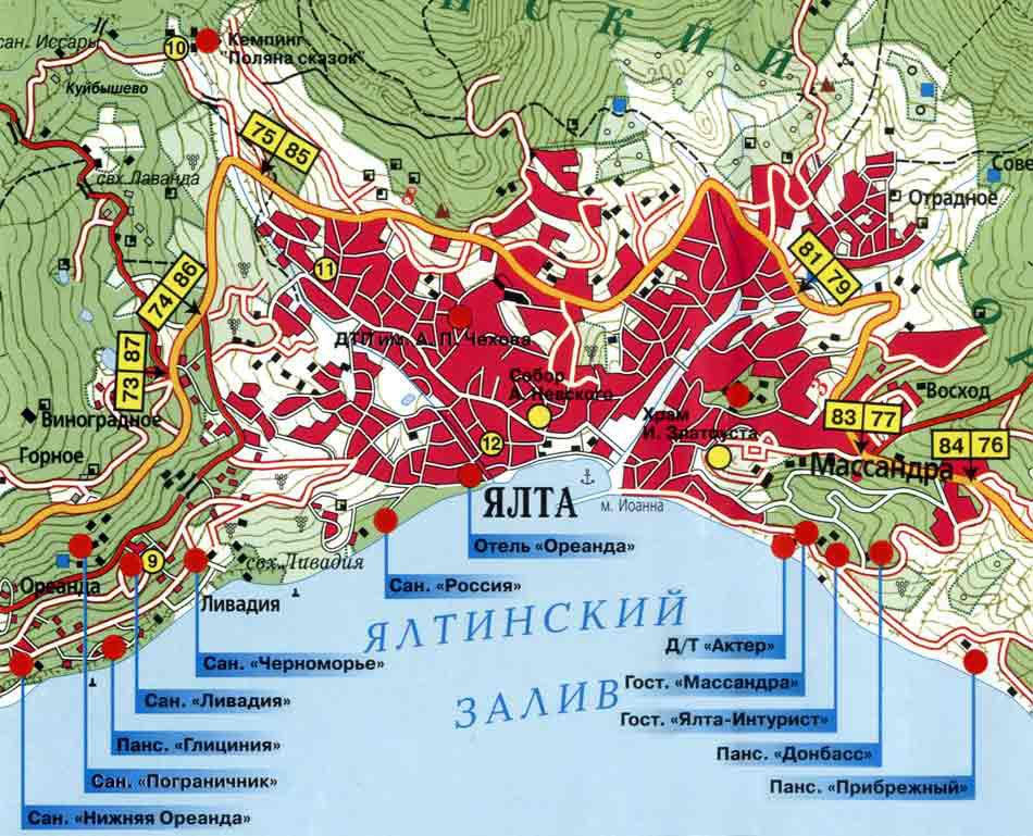 Санатории Ялты на карте,