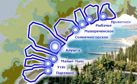 карта схема Алушты и районов