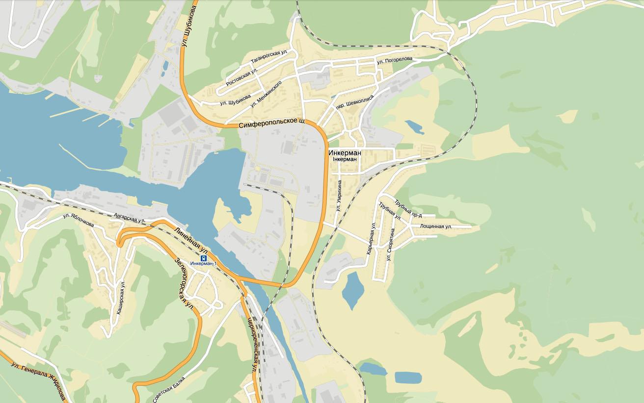 Подробная карта инкермана с улицами