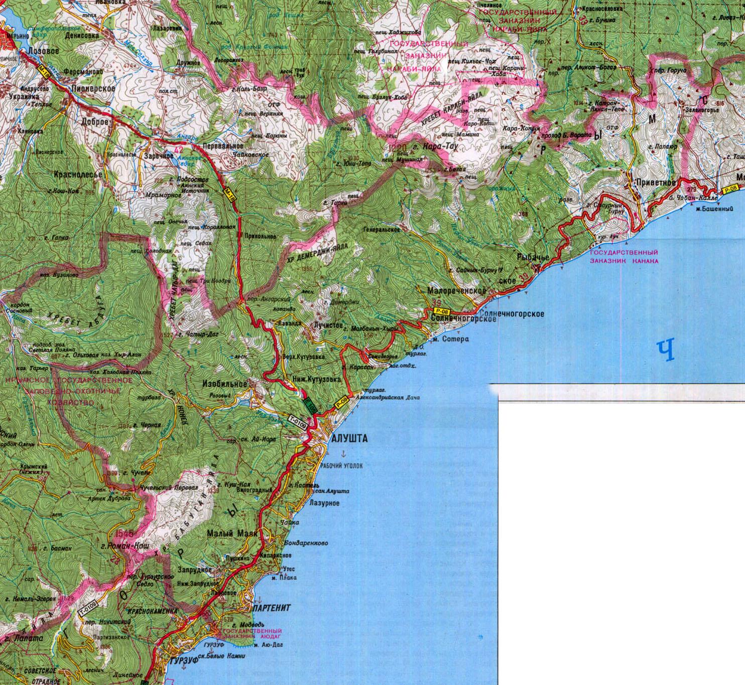 Алуштинский район - подробная карта