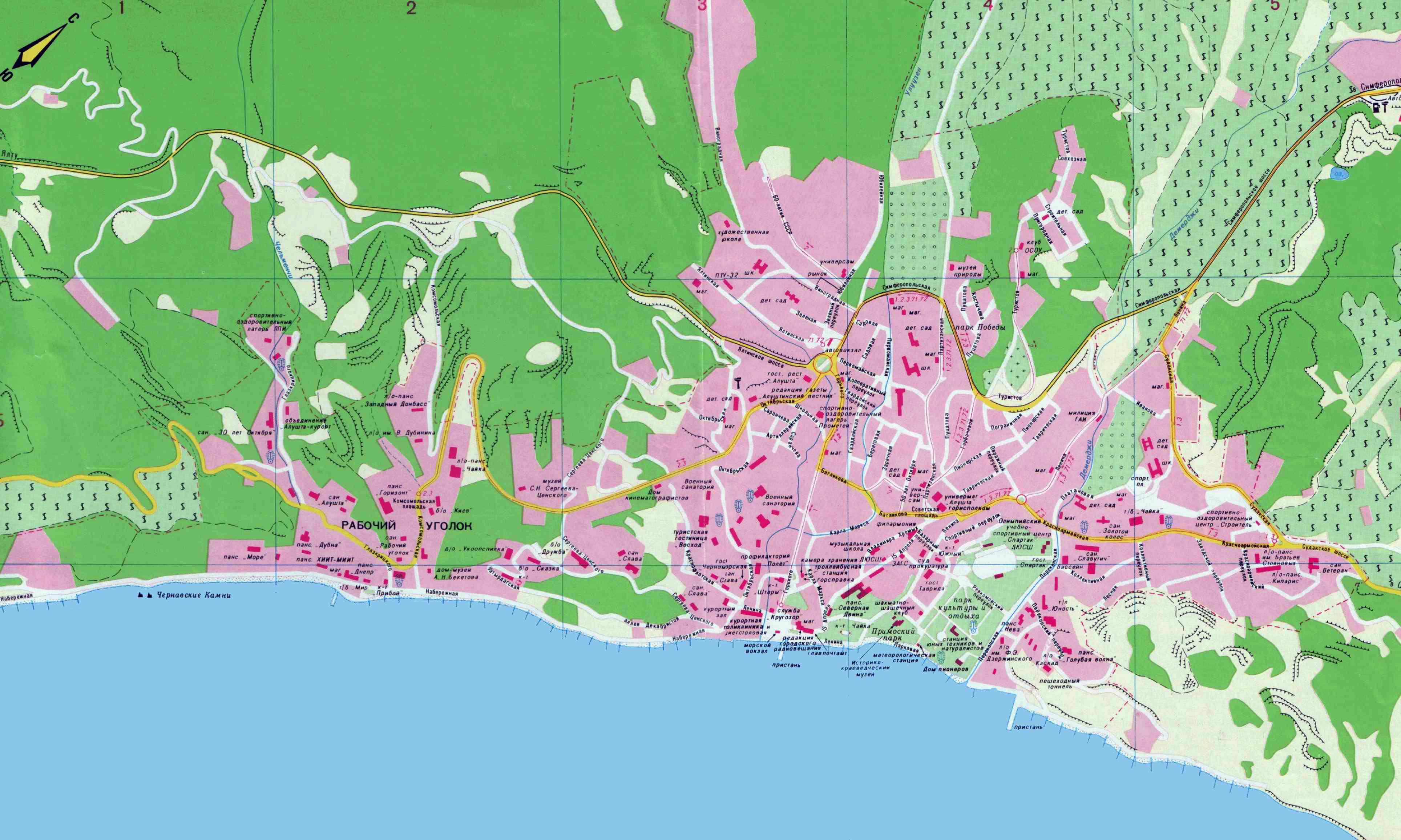 Гостиницы алушты и рестораны на карте