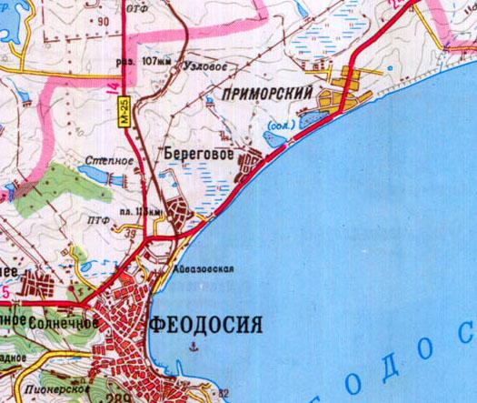 карта поселка Береговое в