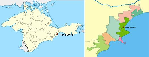 Феодосийский район на карте крыма по